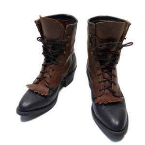 Vintage Packer Granny Boots 6.5 Brown Black Boho